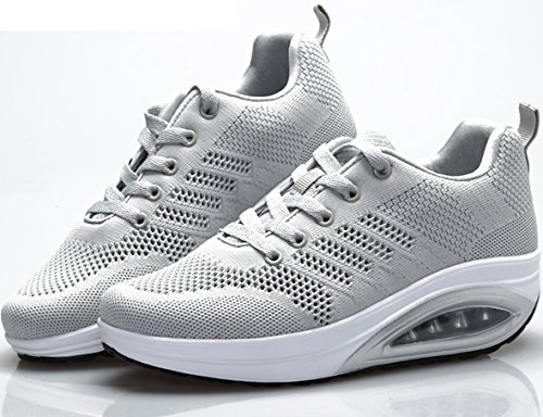 JARLIF Frauen Bequeme Plattform Walking Sneakers Leichte Casual Tennis Air Fitness Schuhe US5.5-10 Alles Grau