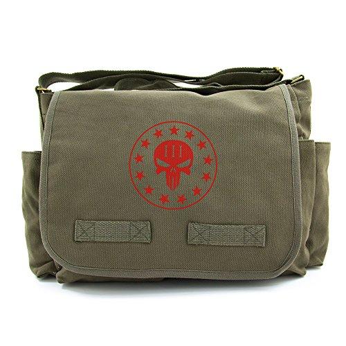 Red Skull Messenger Bag (Three percenter No Surrender Punisher Skull Messenger Bag, Red on Olive Canvas)