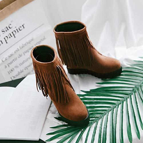 Glands Pointu femmes Et Femme Plates Rond Chaussures Femme Chaussure Avec bottes Rond À Bottes Marron De Neige Kaiki Bout qxO7wE10