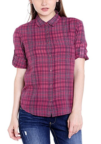 Spykar Women's Checkered T-Shirt