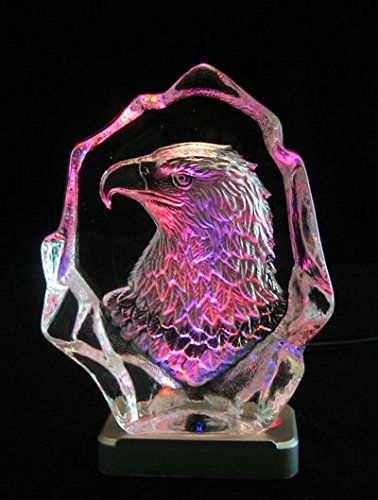 (Engraved lead crystal Eagle Head on LED color light base )