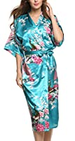 Avidlove Women's Robes Peacock and Blossoms Kimono Satin Nightwear Long Style
