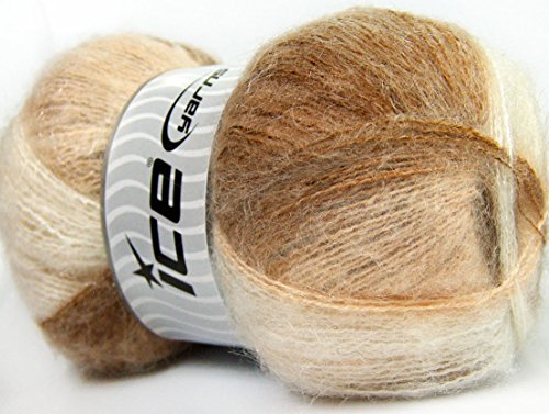 Lot of 4 x 100gr Skeins ICE BERMUDA MOHAIR (70% Mohair) Yarn Camel Cream White