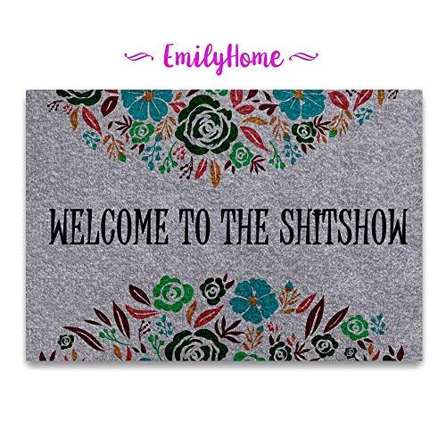EmilyHome Funny Doormat Welcome to The Shitshow Mat Indoor/Outdoor Decor Rug Doormat 23.6X15.7 Inch Home Decor