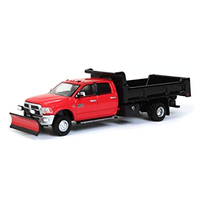 Greenlight 1/64 2020 Ram 3500 Dually, Red w/ Black Dump Bed & Plow, Outback Toys Exclusive 51295-A: Toys & Games
