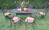 Dining Set Outdoor Cast Aluminum Patio Furniture 7 Peice B with 2 Swivel Chairs R CBM1290