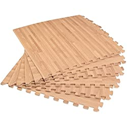 "Forest Floor 3/8"" Thick Printed Wood Grain Interlocking Foam Floor Mats, 16 Sq Ft (4 Tiles), White Oak"
