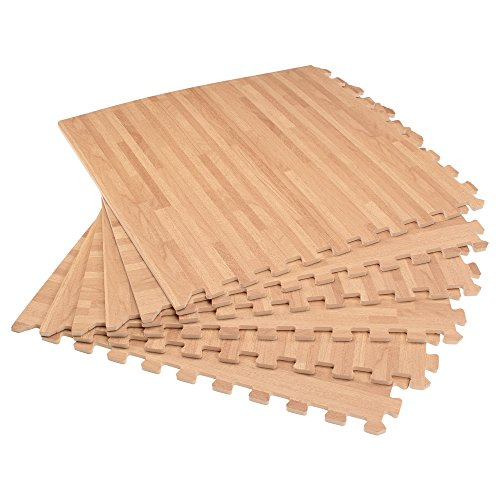 "Forest Floor 3/8"" Thick Printed Wood Grain Interlocking Foam Floor Mats, 200 Sq Ft (50 Tiles), White Oak"