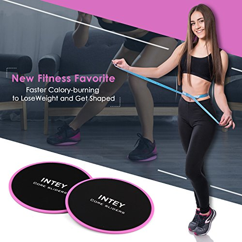 INTEY Exercise Sliders Fitness Workout Sliders Gliding Discs. Dual Sided Use on Carpet or Hardwood Floors, Bonus Carry Bag and Gift Box by INTEY (Image #3)