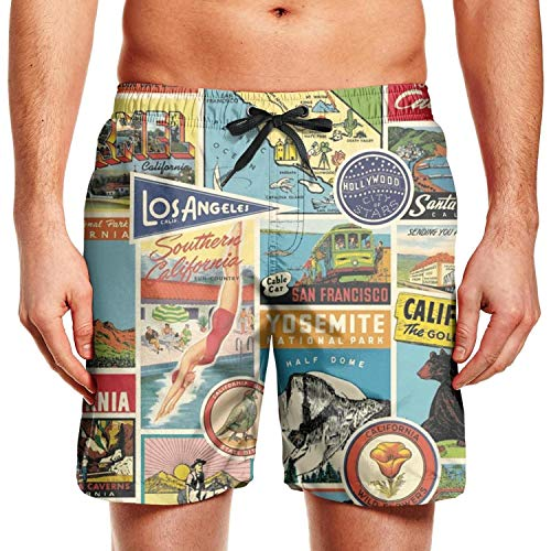 RivasPsm Men's California Republic Bear Poster Swim Trunks Surfing Beach Shorts Slim Fit Board Shorts ()