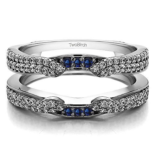 (TwoBirch 0.5 ct. Diamonds G,I2+Sapphire Cathedral Ring Guard Enhancer in Silver (1/2 ct)(Size 3-15, 1/4 Sizes))