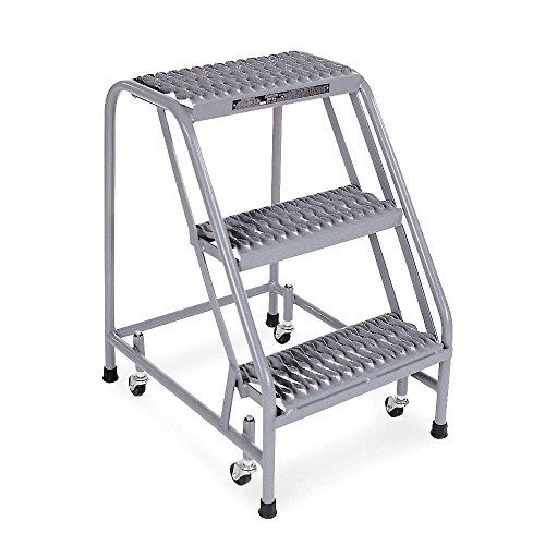 Rolling Ladder Steel - Cotterman 1003N1820A3E10B3C1P1 All Welded Ready to Use Rolling Steel Safety Ladder, 3-Step, 30