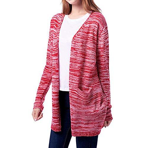Mujer Abrigo Frente Cardigan Abierto Punto Jersey De Lana Outwear Logobeing Rojo Chaqueta Con Suéter Bolsillos Invierno qT7c8SdSE