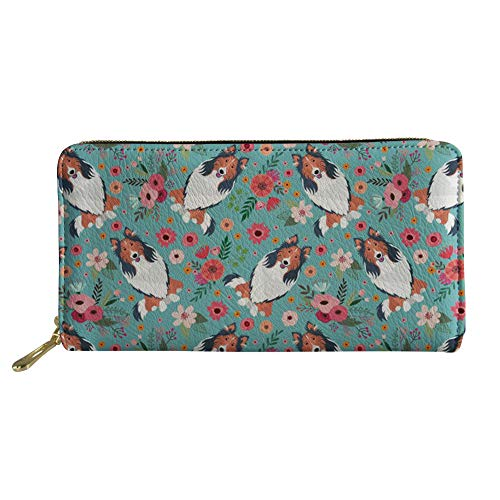 chalqin Cute Wallets Women Leather Purse Puppy Pattern Travel Fashion Money Clips Long Style Zipper Handbag Girls Party Clutch Bag Phone Holder Water Resistant