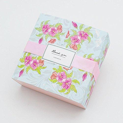 Saasiiyo 10PCS Pink Flower Printed Baking Food Carton Boxes, Cookies Box, Mooncake Chocolate Packaging Boxes, Macaron Emballage 12X12X5