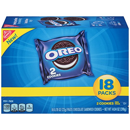 OREO Chocolate Sandwich Cookies, Original Flavor, 18 Snack Packs (36 Cookies Total)