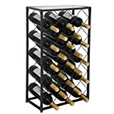 ZENY Wine Rack Display 23 Bottle Wine Storage Holder Stand with Glass Table Top (23 Bottle)