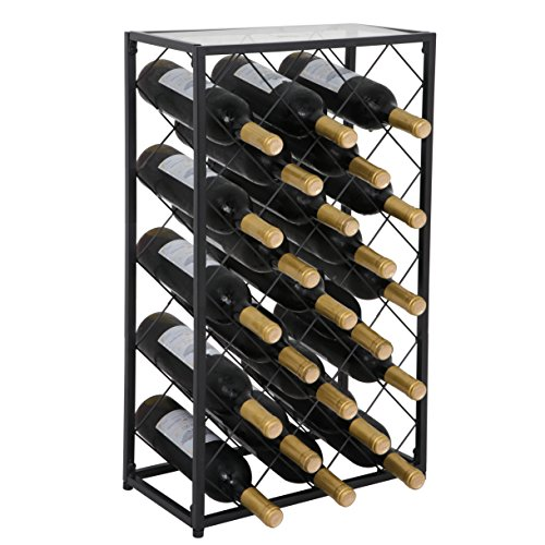 ZENY Wine Rack Display 23 Bottle Wine Storage Holder Stand with Glass Table Top 23 Bottle