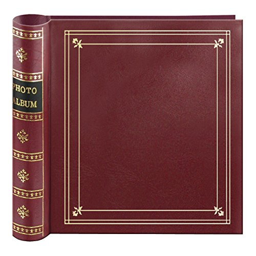 Pioneer Photo 200-Pocket Coil Bound Photo Album for 4 by 6-Inch Prints, Burgundy Leatherette with Gold Accents ()
