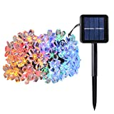 B-right 30ft 50 Led Solar Outdoor Cherry Blossom String Lights, Multi-Color Fairy Light for Garden, Patio, Lawm, Christmas Party Decoration