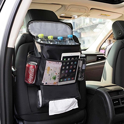 Autoark Car Seat Back Organizer and Cooler Set,Multi-Pocket Travel Storage Bag(Heat-Preservation and Waterproof),Bigger-Capacity,AK-054