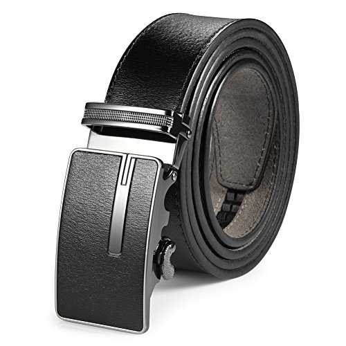Vbiger Men's Genuine Leather Belt Ratchet Dress Belt with Automatic Buckle with Gift Box