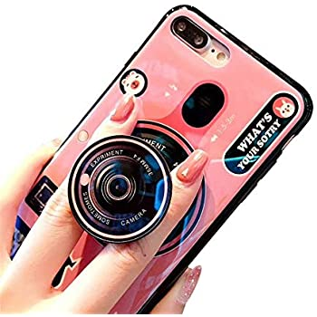 best sneakers d84a9 d1d80 Aikeduo Kickstand Phone Case for iPhone 6S 6 7 8 X 10 7 Plus Camera Case  Silicone Cute Camera Stand Holder Cover (Pink, iPhone 6/6s)