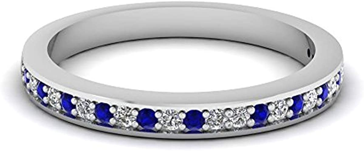 Blue Sapphire Wedding Band Sterling Silver Rings for Women 925 Eternity Ring in White gold