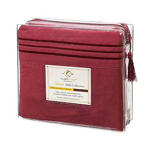 Clara Clark Premier 1800 Collection Deluxe Microfiber 3-Line Bed Sheet Set, Burgundy Red, Twin (Single) Size (Deluxe Twin Bedding Set)