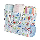 Beach Bag-Waterproof Large Beach Bag-Zippered Canvas Beach Tote-5 pockets-Mesh Pouch