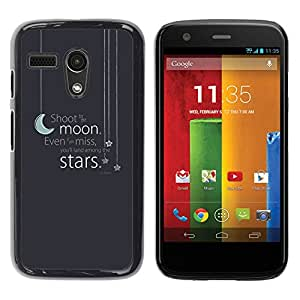 Paccase / SLIM PC / Aliminium Casa Carcasa Funda Case Cover para - Moon Stars Text Grey Blue Night Sleep - Motorola Moto G 1 1ST Gen I X1032