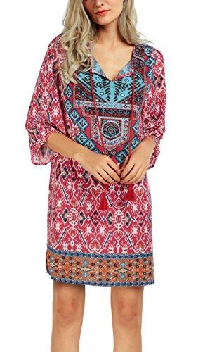 Women Bohemian Neck Tie Vintage Printed Ethnic Style Summer Shift Dress (XL, Pattern 16)