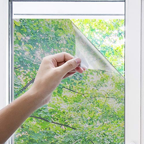 innoAura One Way Window Film-- Anti UV Static Cling Window Film 100% Light Blocking for Privacy Removal Decorate Heat Control Glass Tint Home Office Windows.(23.6