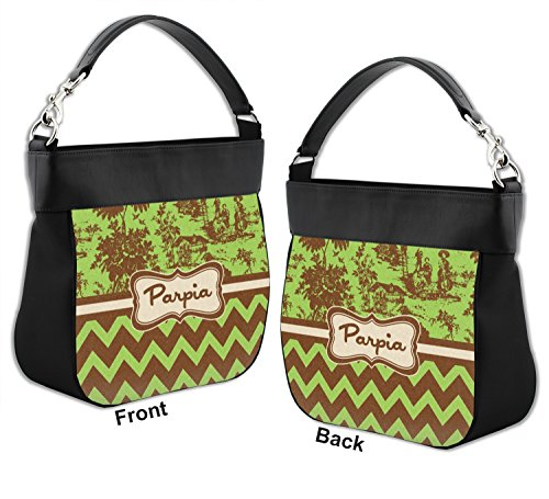 w Personalized Trim Chevron Back Hobo Genuine Green Front amp; Toile Purse amp; Brown amp; Leather nqw46140a
