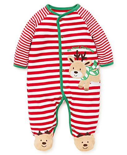 Little Me Baby Boys Footie and Hat, Reindeer Christmas red/White/Multi, 6 Months
