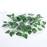 Decorlife 12PCS Artificial Ivy Greenery Garland Fake Hanging Plants Artificial Vine Scindapsus Flowers For Home Farmhouse Wall Weeding Decor
