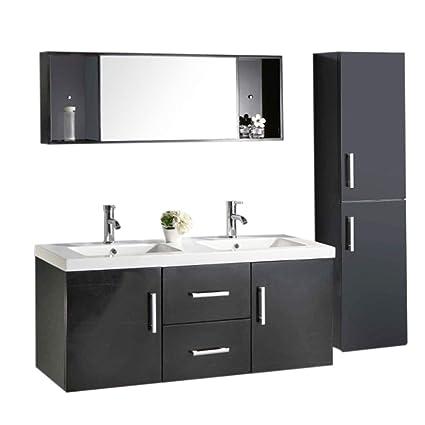 Muebles para baño Modelo Malibu 120 cm para cuarto de baño con espejo baño  grifos incluido mueble + 2 espejos + repisas + grifería + fregaderos