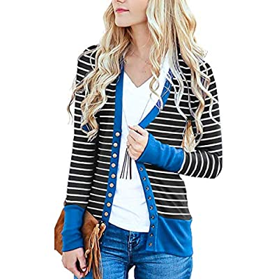 RichCoco Women's Button Down Cardigan Long Sleeve Tops Shirts Outwear Solid Knit Ribbed Open Front Cardigan Sweaters at Women's Clothing store