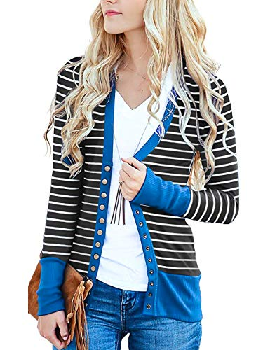 Faatoop Women's V-Neck Button Down Knitwear Long Sleeve Striped Soft Basic Knit Snap Cardigan Sweater (Blue, XXL)