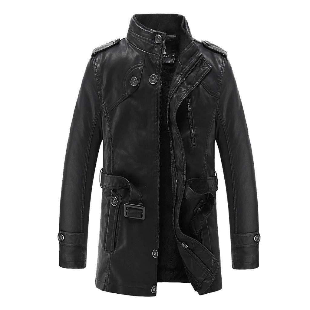 kemilove Men's Leather Coat, Casual Fashion Collar with Velvet Mid-Length Leather Autumn Winter Zipper Pure Color Tops Black