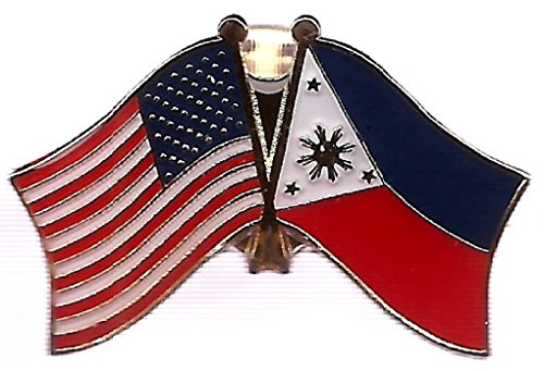 PACK of 50 Philippines & US Crossed Double Flag Lapel Pins, Filipino & American Friendship Pin Badge