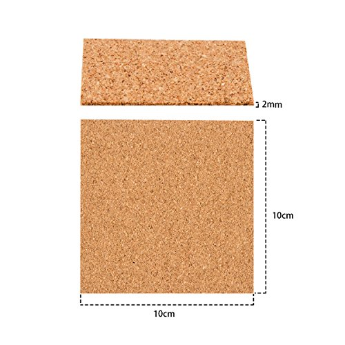 60 Pack Self-Adhesive Cork Squares - 4''x 4'' Cork Backing Sheets Mini Wall Cork Tiles for Coasters and DIY Crafts by Homfshop (Image #1)