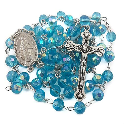 (Nazareth Store Turquoise Crystal Beads Catholic Rosary Necklace Holy Mary Medal & Cross Crucifix, Handmade Christian Holy Rosary in Gift Bag )