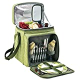 Picnic at Ascot Insulated Picnic Basket/Cooler Fully Equipped with Service for 2 – Olive Tweed For Sale