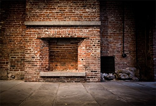 CSFOTO 5x3ft Background for Brick Wall and Fireplace Photography Backdrop Abandoned Aged Apartment Vintage Building Grunge Old Rock Room Rough Rustic Stone Photo Studio Props Vinyl Wallpaper (Fireplace Brick Old)