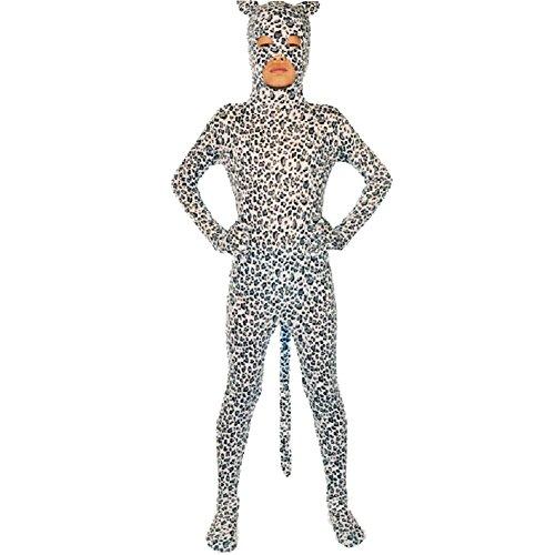 [Child Animal White Black Skin Leopard Print Bodysuit With Tail (Large)] (Child Black Skin Suit)
