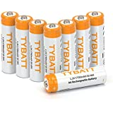 TYBATT 8-Pack Rechargeable AA Batteries 1700mAh Ni-MH Rechargeable Batteries High Performance 1200 Cycle, Battery Case Included