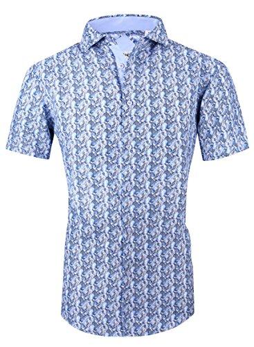 Markalar Mens Button Down Shirts Regular Fit Casual Print Dress Shirt (Print11,XL)