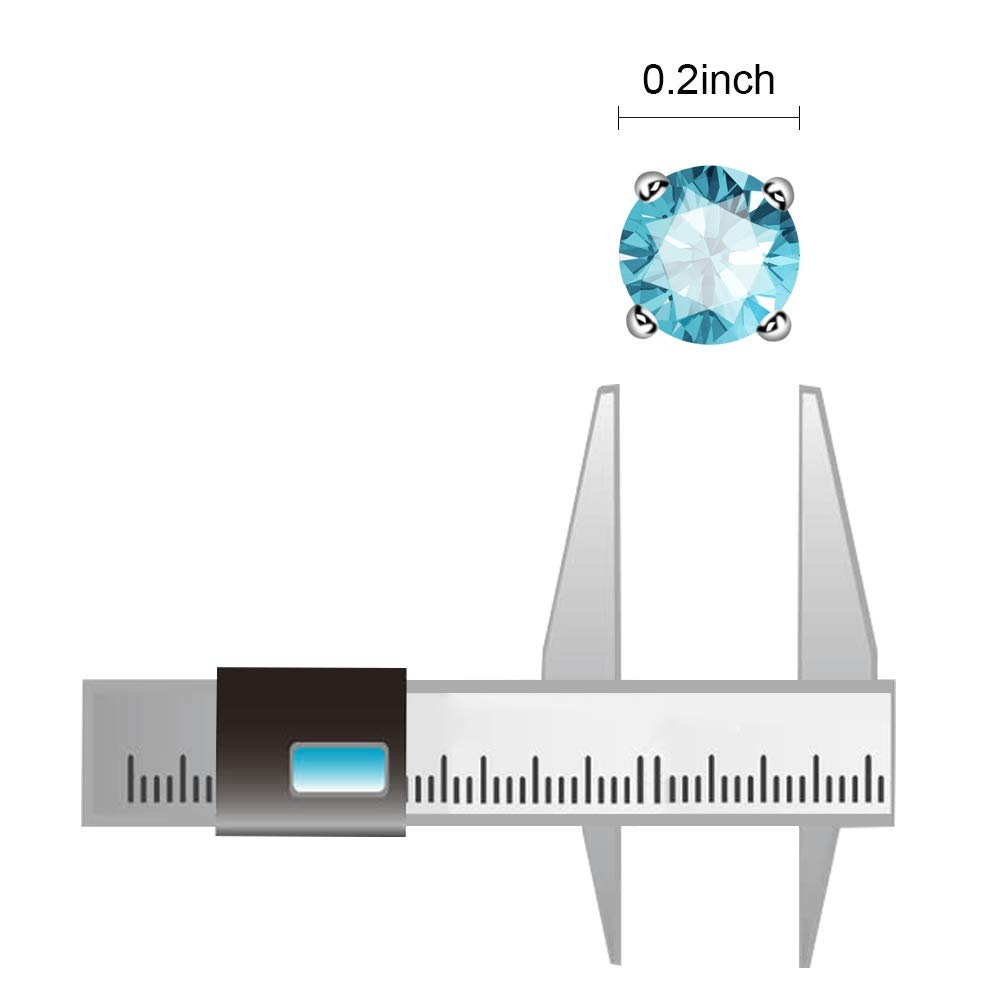 UHIBROS Sterling Silver Birthstone Stud Earrings Round Cubic Zirconia Diamond March Gifts
