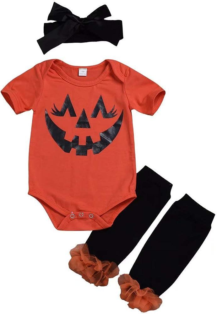 3PCS Newborn Baby Girls Halloween Clothes Romper+Leg Warmer+Headband Outfit Set